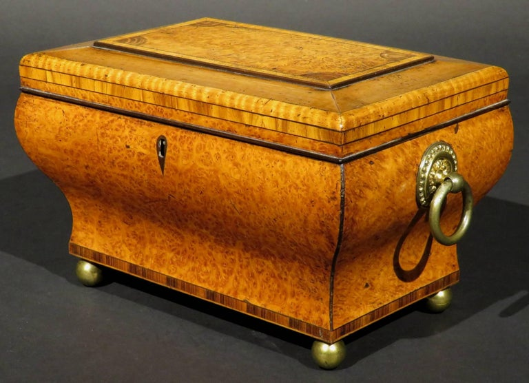 A very complicated tea caddy both in terms of its form and materials, showing a hinged lid centred by a raised lozenge in burr yew inset with four quarter-round spandrels of figured heartwood within a crossbanded border, the outer edge trimmed with