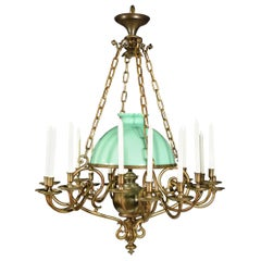 Very Fine Bronze Chandelier with Its Original Pale Green Shade