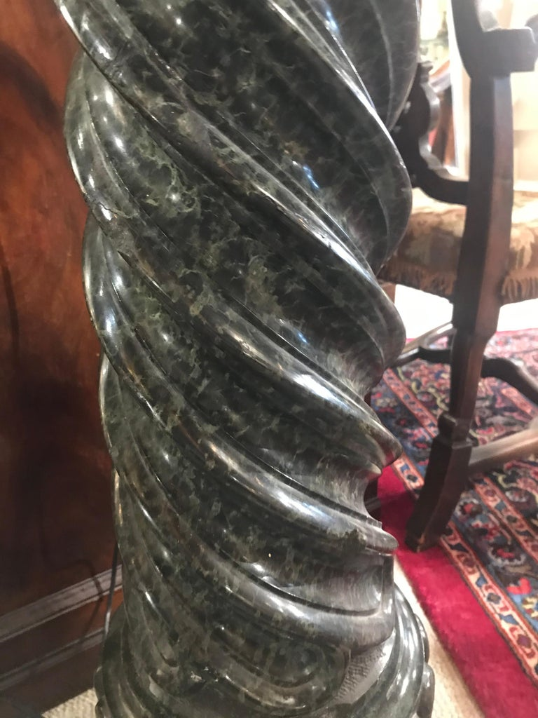 Late 19th Century Very Fine and Elegant Green Marble Column Motif Pedestal For Sale