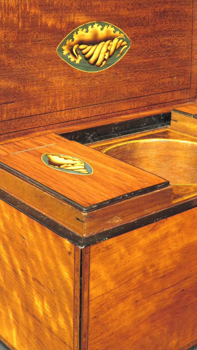 A Very Fine George III Inlaid Satinwood Tea Caddy, England Circa 1800   For Sale 5