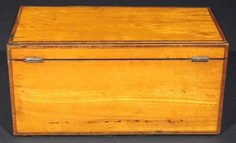 19th Century A Very Fine George III Inlaid Satinwood Tea Caddy, England Circa 1800   For Sale
