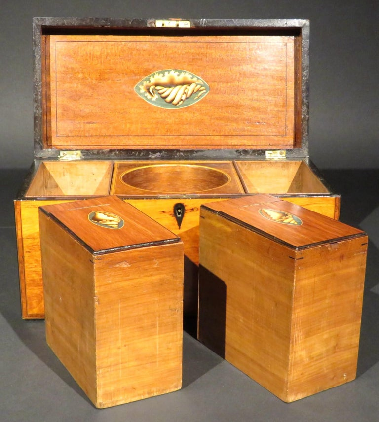 A Very Fine George III Inlaid Satinwood Tea Caddy, England Circa 1800   For Sale 2