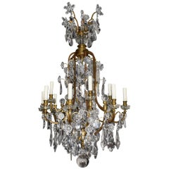"Very Fine Gilt Bronze and Crystal Chandelier Louis XV Style ""Cage"" Chandelier"