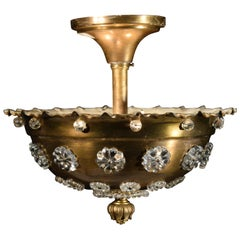 Very Fine Gilt Bronze and Crystal Plafonnier by Jensen