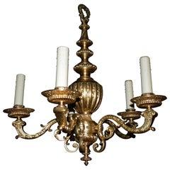 Very Fine Gilt Bronze Louis XVI Style 5 Lights Chandelier