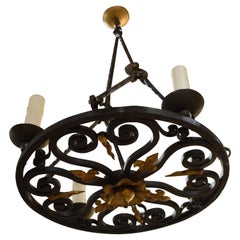 Very Fine Hand Forged Iron Chandelier