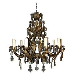 Very Fine Iron and Crystal Louis XV Style Chandelier, France, circa 1930