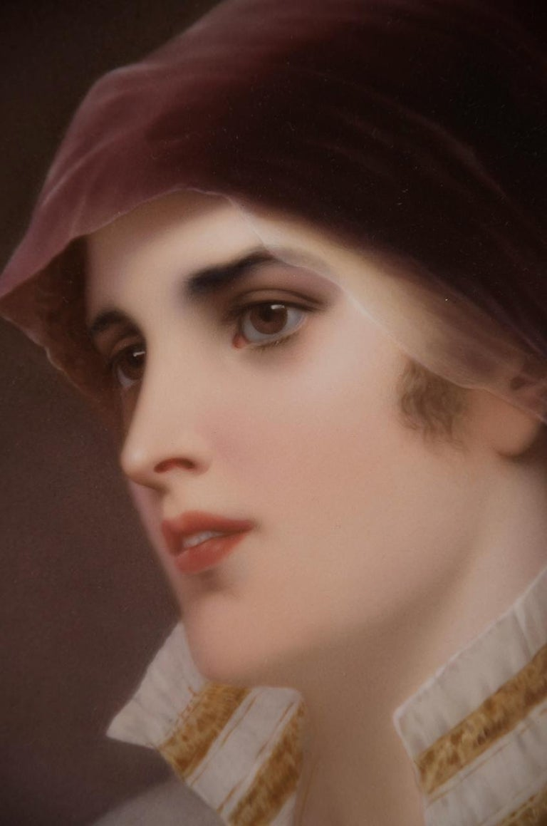 German Very Fine KPM Porcelain Plaque of a Young Woman, circa 1890 For Sale