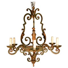 Very Fine Louis XV Style Iron Chandelier Partially Painted and Fire Gilt