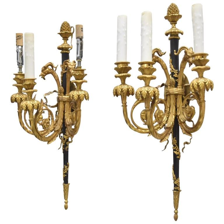 Very Fine Pair of 19th Century French Louis XVI Gilt Bronze Rams Head Sconces For Sale