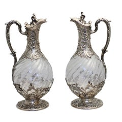 Very Fine Pair of French Silver-Mounted Glass Claret Jugs, Paris, circa 1880