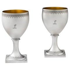 Very Fine Pair of George III Wine Goblets, London, 1807, Thomas James
