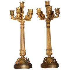 Very Fine Pair of Gilt Bronze Candlesticks