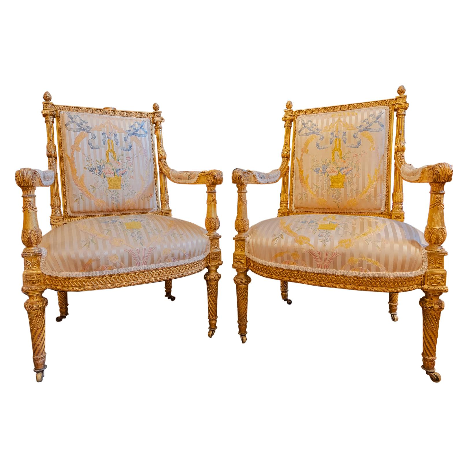 Very Fine Pair of Late 18th Century French Louis XVI Fauteuils, Gilt Carved