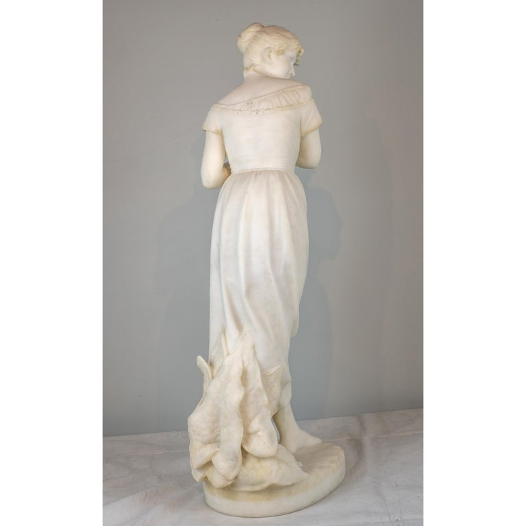 Italian White Marble Sculpture Statue of a Maiden by Cesare Lapini For Sale