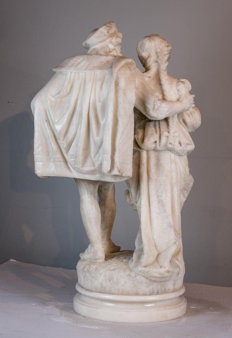 Italian White Marble Statue Sculpture of Lovers Attributed to Romanelli For Sale