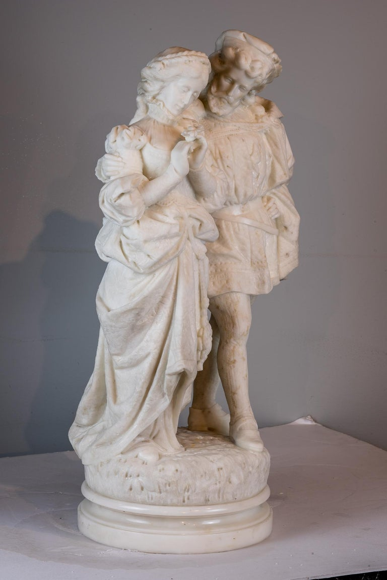 White Marble Statue Sculpture of Lovers Attributed to Romanelli In Good Condition For Sale In New York, NY