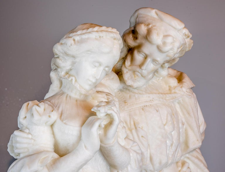 19th Century White Marble Statue Sculpture of Lovers Attributed to Romanelli For Sale