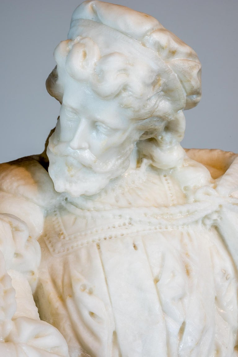 White Marble Statue Sculpture of Lovers Attributed to Romanelli For Sale 1