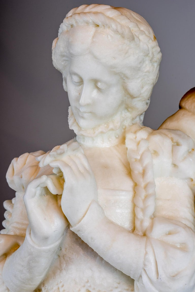 White Marble Statue Sculpture of Lovers Attributed to Romanelli For Sale 2