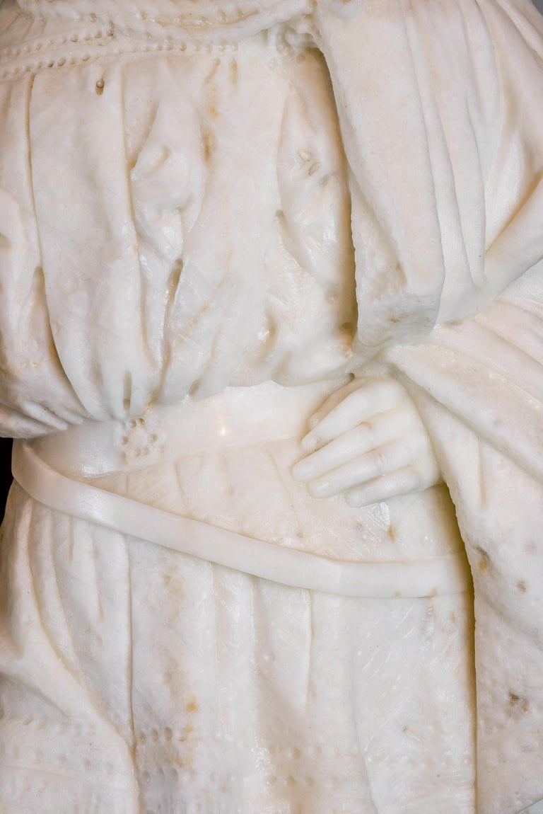 White Marble Statue Sculpture of Lovers Attributed to Romanelli For Sale 3
