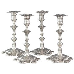 Very Fine Set of Cast Silver Candlesticks by John Cafe London, 1750