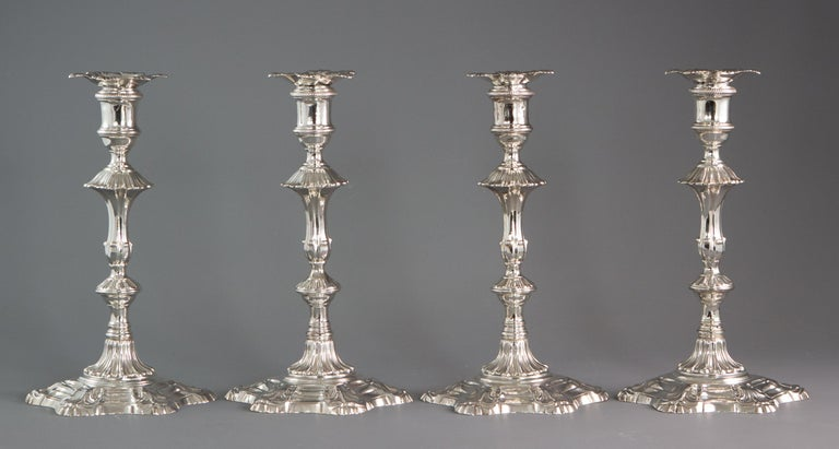 George II Very Fine Set of Four Georgian Silver Table Candlesticks, London, 1753 For Sale