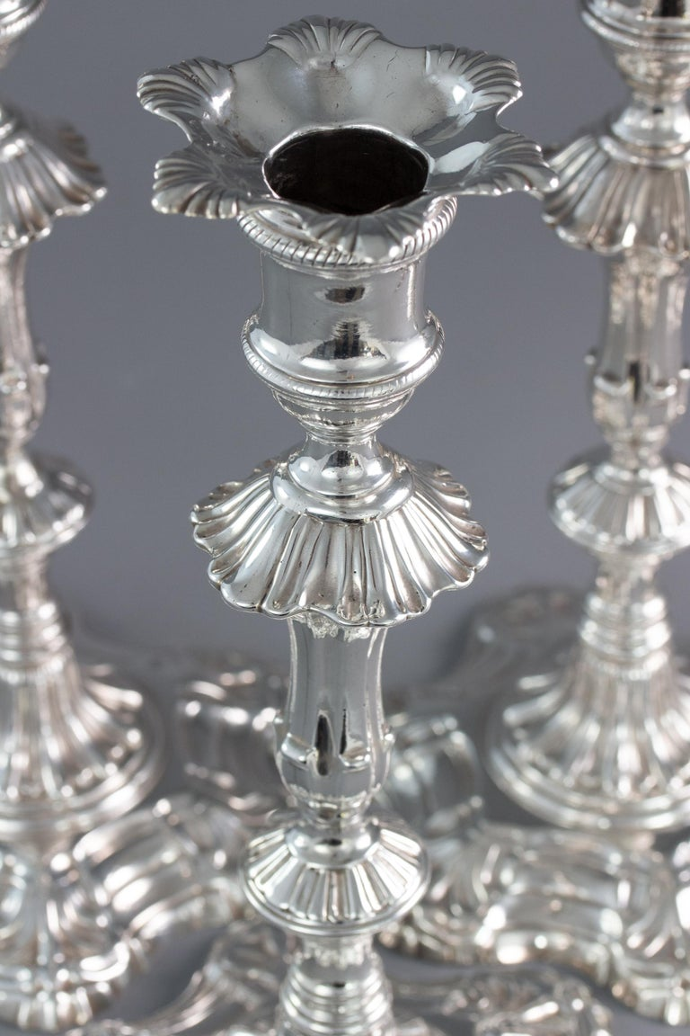 Mid-18th Century Very Fine Set of Four Georgian Silver Table Candlesticks, London, 1753 For Sale