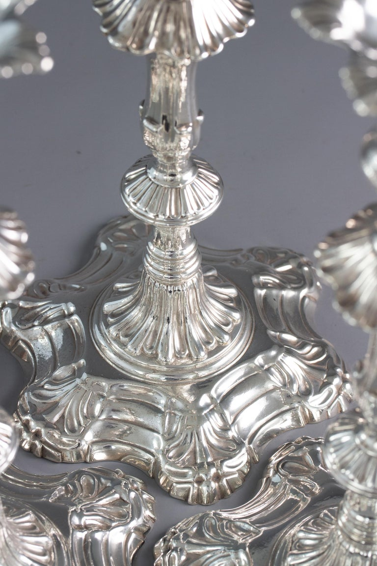 Sterling Silver Very Fine Set of Four Georgian Silver Table Candlesticks, London, 1753 For Sale