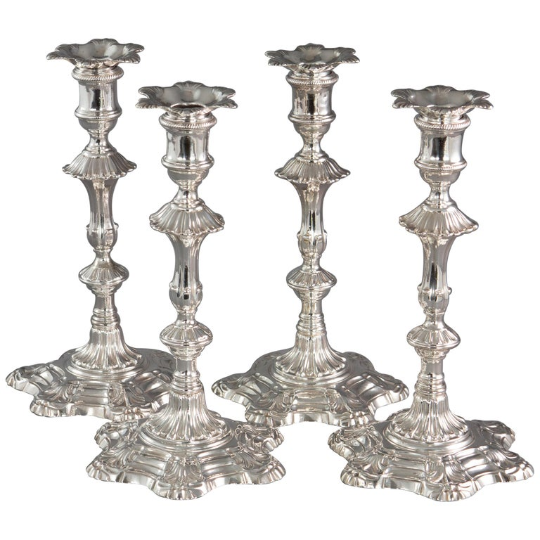 Very Fine Set of Four Georgian Silver Table Candlesticks, London, 1753 For Sale