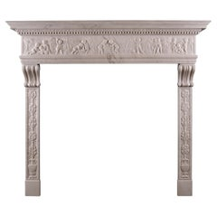 Very Fine Statuary White Marble Fireplace in the Italian Renaissance Manner
