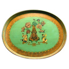 Very Good Chinoiserie Decorated Green Papier Mâché Tray, England, circa 1840