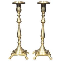 Very Good Pair of Russian Brass Candlesticks, Circa 1800