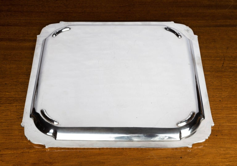 19th Century Very Good Quality, Victorian, Sheffield Plated, Square Waiter For Sale