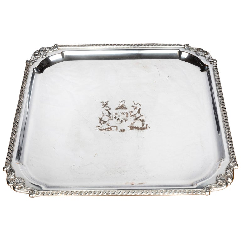 Very Good Quality, Victorian, Sheffield Plated, Square Waiter For Sale