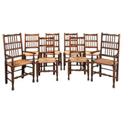 Very Good Set of 8 '6+2' Early 20th Century Stick-Backed Country Chairs