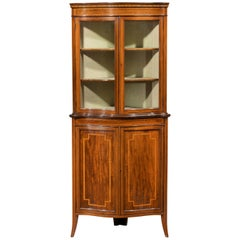 Very Good Sheraton Design Corner Cupboard by Maple and Co