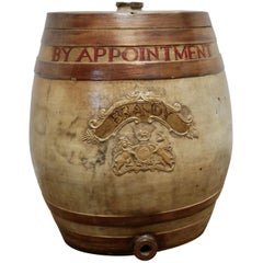 Very Large 19th Century Stoneware Brandy Barrel, with Royal Coats of Arms