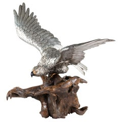Very Large and Imposing Meiji Period Silvered Bronze Eagle