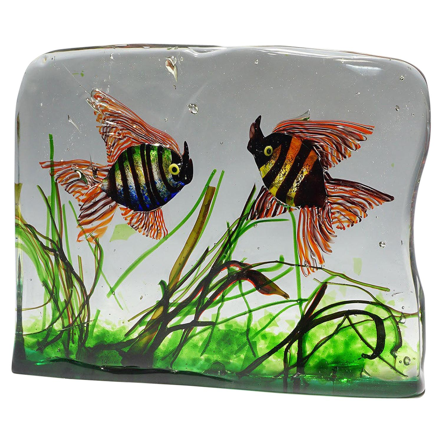 Very Large Cenedese Aquarium with Two Fishes, 6.15 Kg, circa 1960