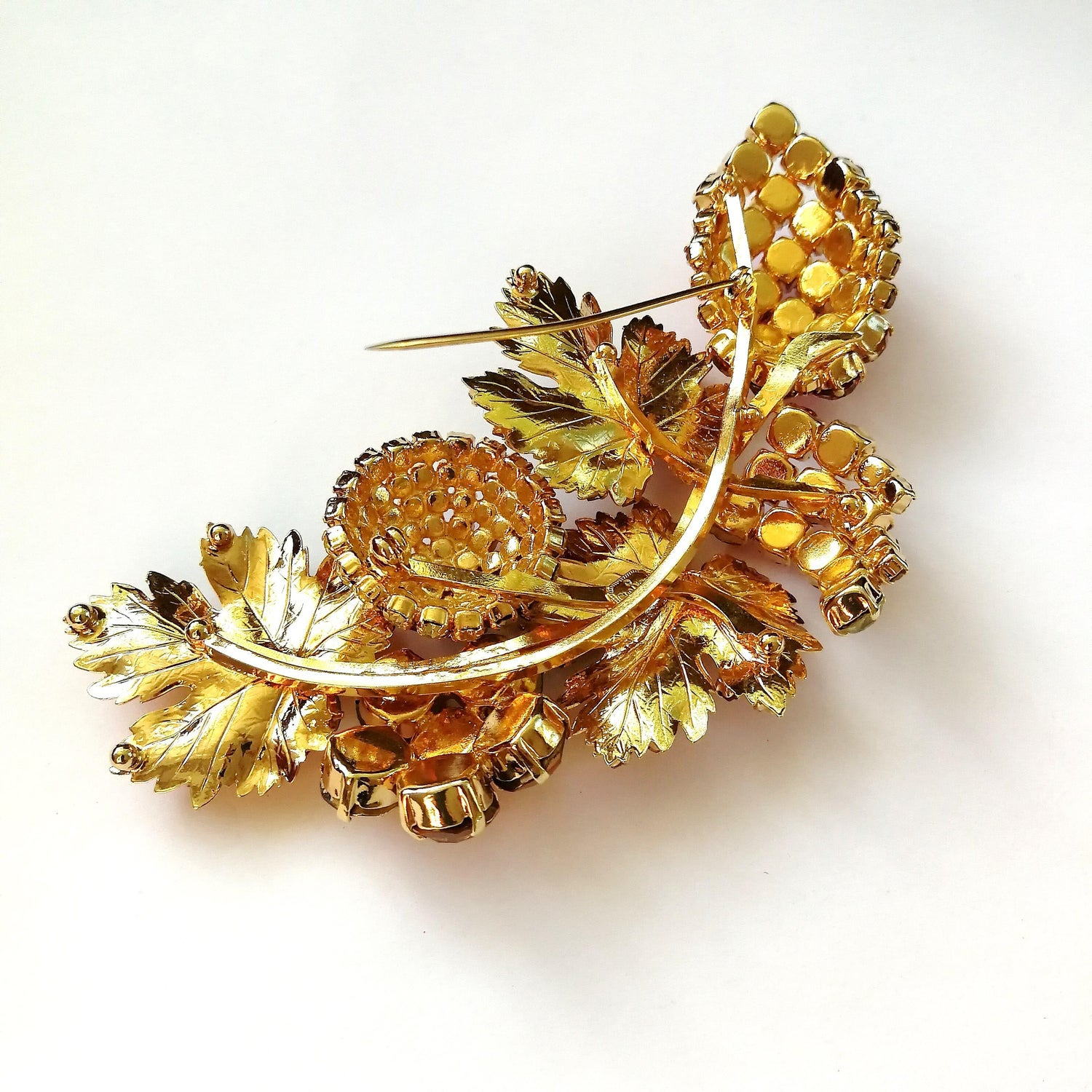 6a8848a15 A very large coloured paste and gilt metal 'spray' brooch, Christian Dior,  1980s For Sale at 1stdibs