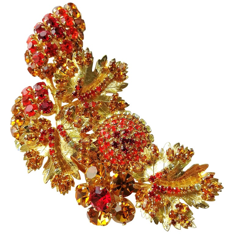 57dd46afb A very large coloured paste and gilt metal 'spray' brooch, Christian Dior,
