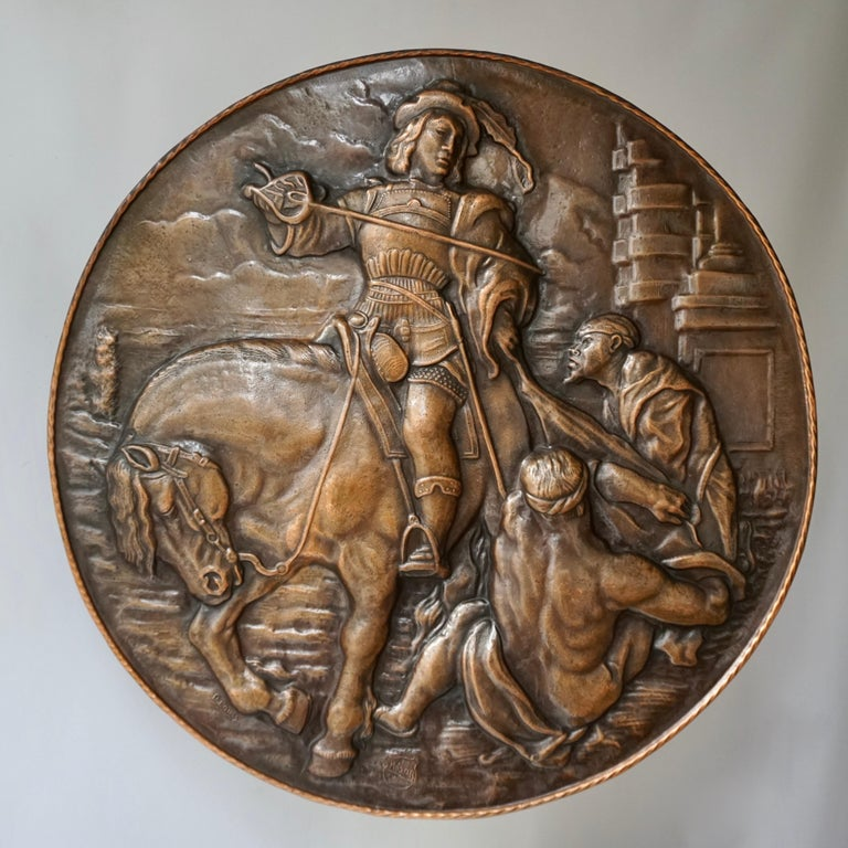 Very Large Copper Wall Plate Depiction Saint Martin on Horse in Relief For Sale 1
