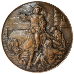 Very Large Copper Wall Plate Depiction Saint Martin on Horse in Relief