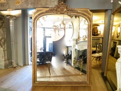 A Very Large French Gold Gilt Overmantel Mirror