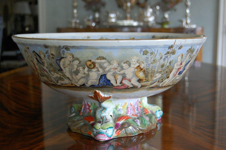 Late Victorian Very Large Gildea & Walker Staffordshire Pottery Punch Bowl, circa 1885 For Sale