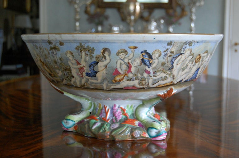 British Very Large Gildea & Walker Staffordshire Pottery Punch Bowl, circa 1885 For Sale