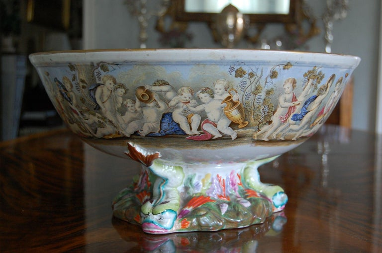 Very Large Gildea & Walker Staffordshire Pottery Punch Bowl, circa 1885 In Fair Condition For Sale In Pittsburgh, PA