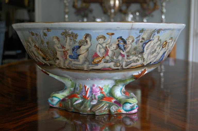 Late 19th Century Very Large Gildea & Walker Staffordshire Pottery Punch Bowl, circa 1885 For Sale