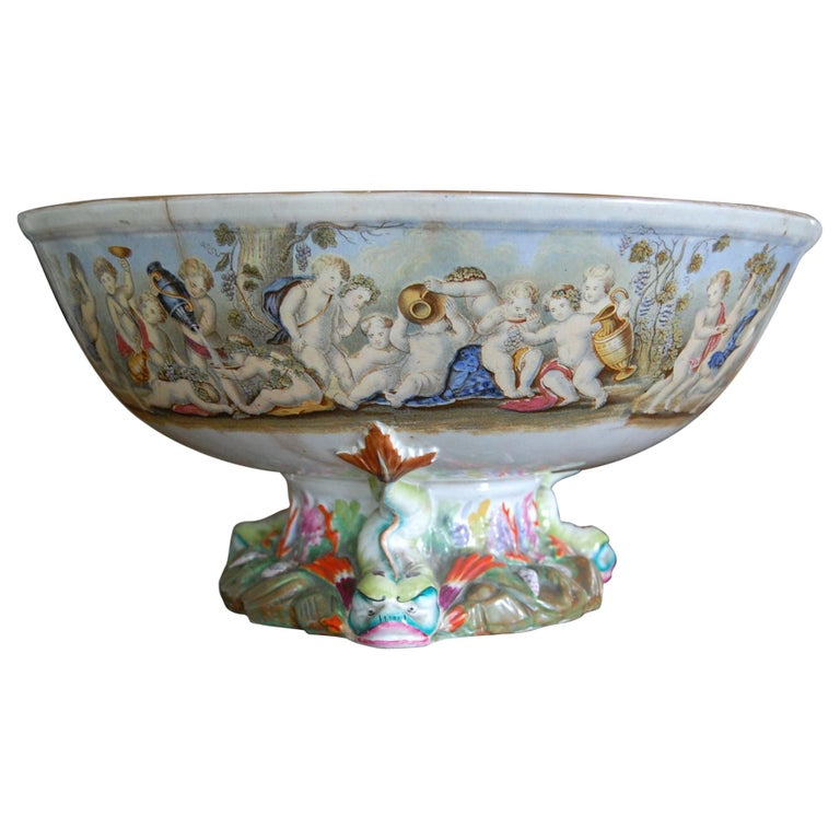 Very Large Gildea & Walker Staffordshire Pottery Punch Bowl, circa 1885 For Sale